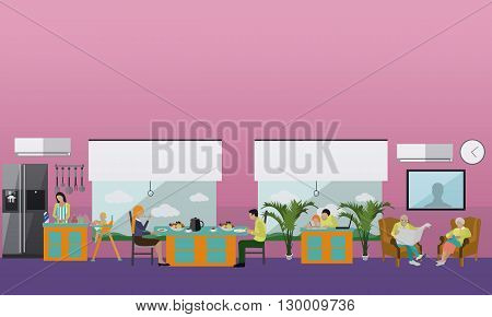 Family at home. People having dinner at home. Vector illustration in flat style design.