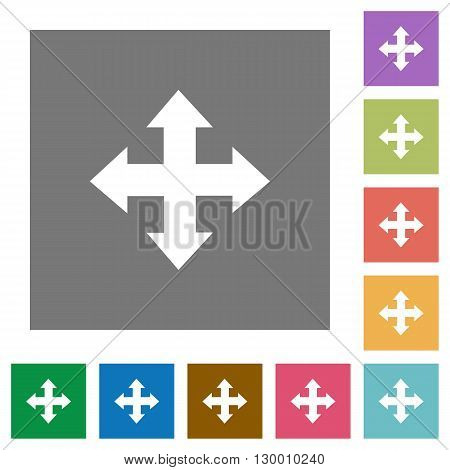 Move flat icon set on color square background.