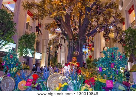 LAS VEGAS - FEB 21 : Chinese new year decorations at the Venetian hotel & Casino in Las Vegas on February 21 2016. With more than 4000 suites it's one of the most famous hotels in the world.