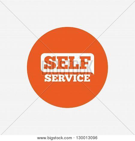 Self service sign icon. Maintenance button. Orange circle button with icon. Vector