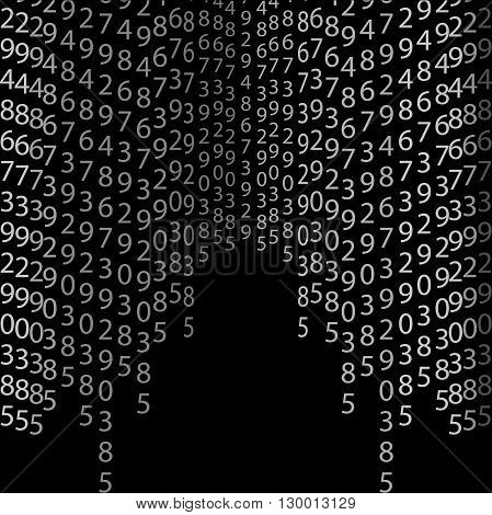 Matrix concept black and white background with digits on screen. Algorithm binary data code decryption and encoding row matrix vector illustration on black background