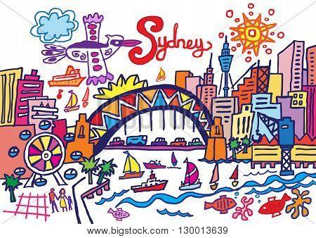 A cartoon style vector illustration of Sydney Australia.