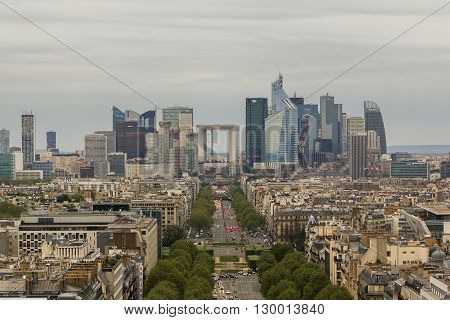Paris, France - May 12: It is an area of modern French buildings La Defense at dusk from the height of the Triumphal Arch May 12, 2013 in Paris, France.
