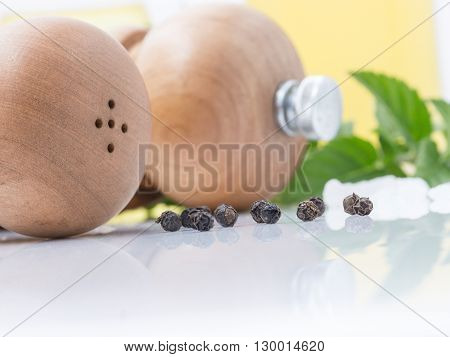 Wooden Salt and pepper mills isolated on white background