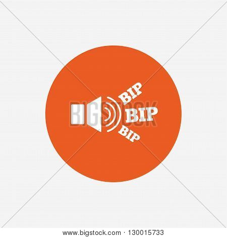 Speaker volume icon. Sound with BIP symbol. Loud signal. Orange circle button with icon. Vector