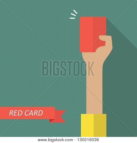 Hand of referee showing red card. Vector illustration