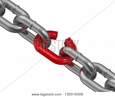 Chain metal. Metal chain with a weak link. The concept of the weakest link. Isolated. 3D Illustration