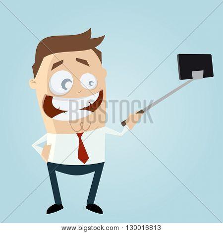 funny businessman making a selfie