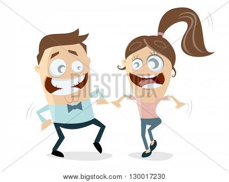 funny cartoon couple dancing together