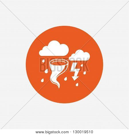 Storm bad weather sign icon. Clouds with thunderstorm. Gale hurricane symbol. Destruction and disaster from wind. Insurance symbol. Orange circle button with icon. Vector