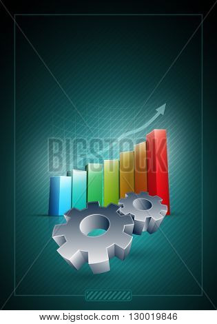 Vector working gears and colorful bar graph. Elements are layered separately in vector file.