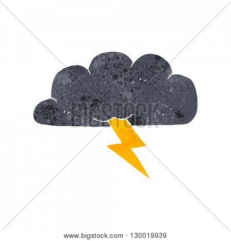 freehand retro cartoon thundercloud