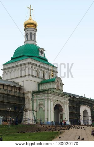 Sergiev Posad, Russia - May 23: This is the Holy Gates in Trinity-Sergius Laurus of Russian Orthodox Patriarchate May 23, 2013 in Sergiev Posad, Russia.