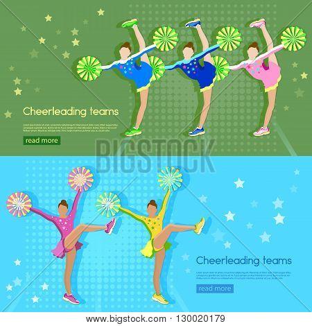 Cheerleading team banner girl cheerleaders dancing school sports championship vector illustration