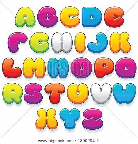 Funny Colorful Plastic Letters. Cartoon Vector Font Kit Ready for Your Text and Design.