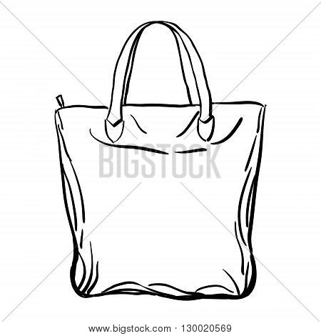 Beach tote bag sketch isolated on white background. Vector illustration.