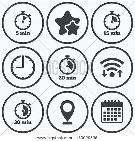 Clock, wifi and stars icons. Timer icons. 5, 15, 20 and 30 minutes stopwatch symbols. Calendar symbol.