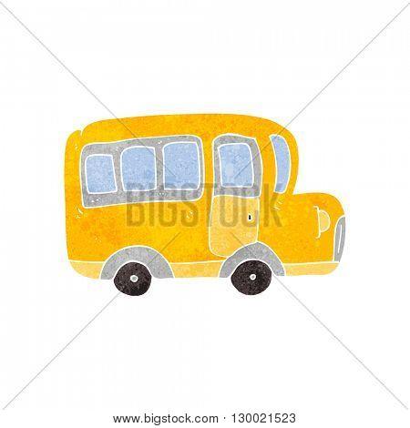 freehand retro cartoon yellow school bus