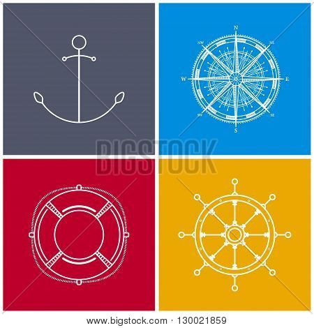 Icons Anchor, Compass Rose, Lifebuoy, Ship's Wheel, Set of Multicolored Maritime Icons for Web Design, Vector Illustration