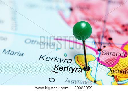 Kerkyra pinned on a map of Greece