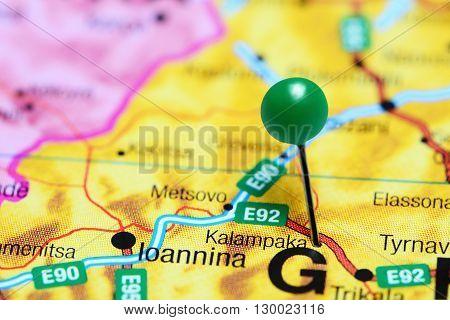 Kalampaka pinned on a map of Greece