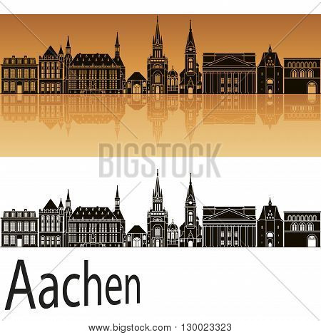 Aachen skyline in orange background in editable vector file