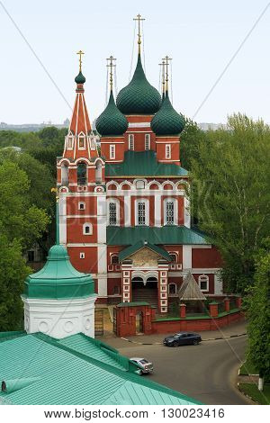 Yaroslavl, Russia - May 23: This is five-domed Church of Archangel Michael Church of the XVII century served as a palace church of Yaroslavl feudal princes May 23, 2013 in Yaroslavl, Russia.