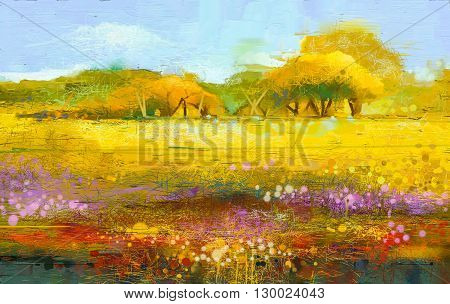 Abstract colorful oil painting landscape on canvas. Semi- abstract image of tree and field. Yellow and red wildflowers with blue sky. Spring season nature background