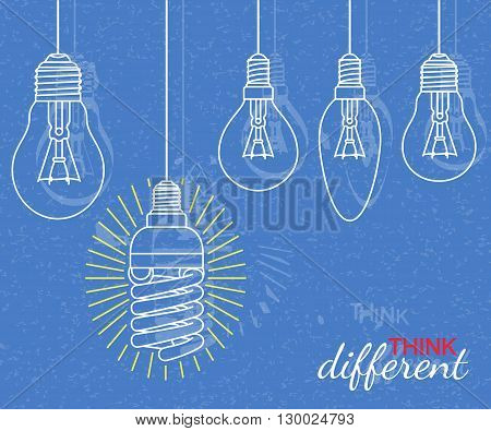 Think different concept. Background with bulbs and grunge texture. Vector illustration