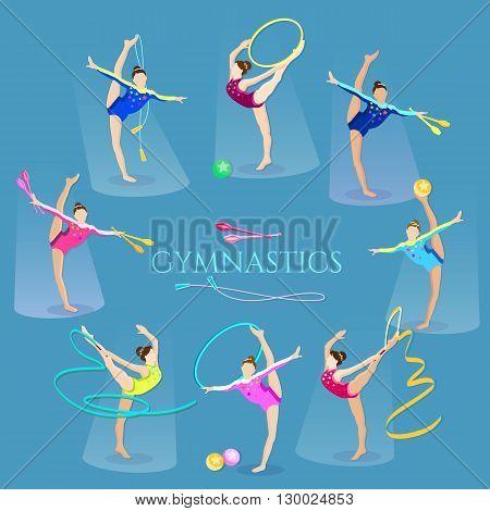 Gymnastics girls gymnasts artistic and rhythmic gymnast exercise vector illustration