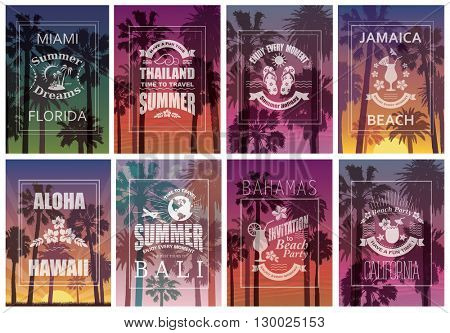 Exotic Travel Backgrounds with Palm Trees. Vector Set of Banners.