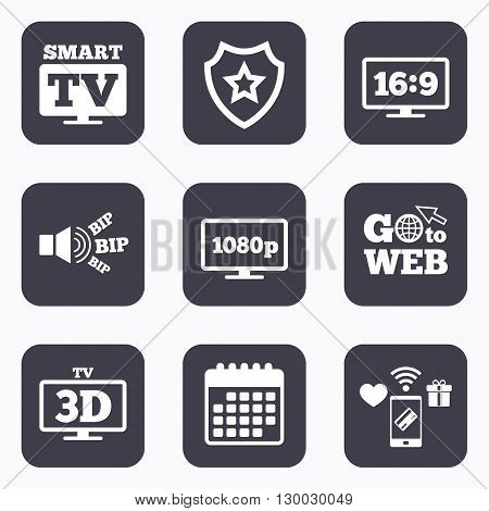 Mobile payments, wifi and calendar icons. Smart TV mode icon. Aspect ratio 16:9 widescreen symbol. Full hd 1080p resolution. 3D Television sign. Go to web symbol.
