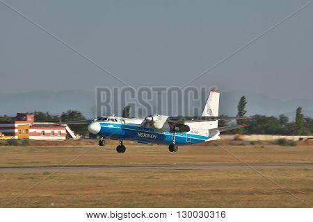 Simferopol Ukraine - September 12 2010: Antonov An-24 turboprop passenger plane is taking off from the airport