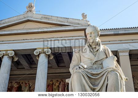 statue of Greek philosopher Adamantios Korais in Athens