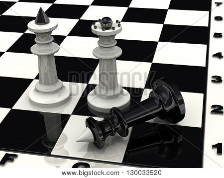Victory. Checkmate. Chess. White chess pieces king and queen standing over defeated black king. The victory of the white pieces in a chess game. 3D Illustration