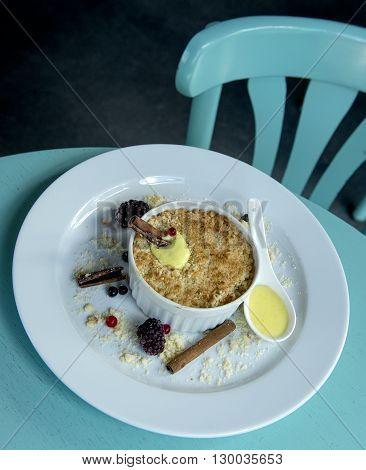 individual apple tart with delicious vanilla sauce