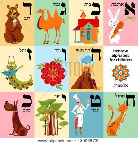Hebrew alphabet with pictures for children. Set 1. Vector illustration