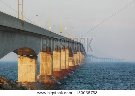 Fog rolls in on the Confederation Bridge linking Prince Edward Island with mainland New Brunswick.