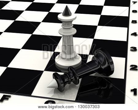 The defeat of black king. Chess white king standing over defeated black king. 3D Illustration