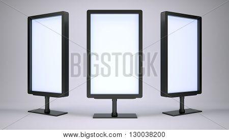 Black lightboxes in empty studio. Front view. Gradient background. 3D rendering