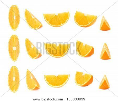 Slice section of ripe  orange isolated over the white background, set of different foreshortenings