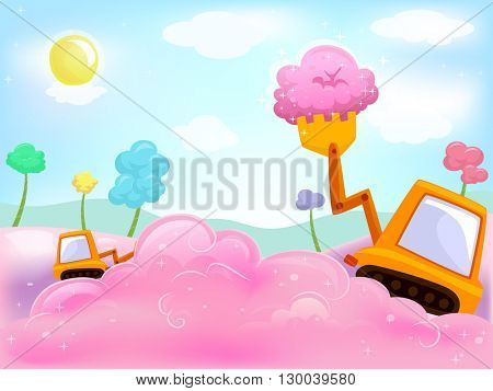 Illustration of a Payloader Scooping Cotton Candy - eps10