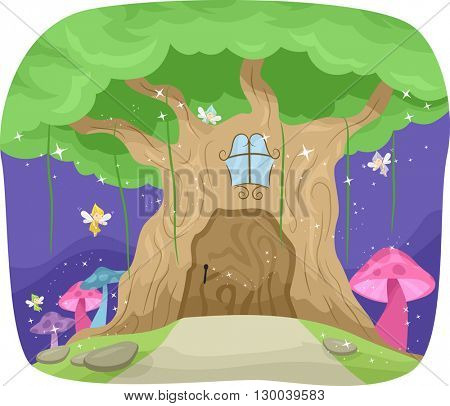 Whimsical Illustration Featuring a Fairy Tree