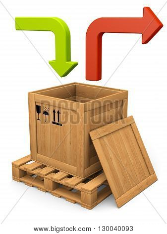 Data communication concept. Open wooden box with on pallet and lid. Packing signs print. Green and red bent arrows. isolated on white.