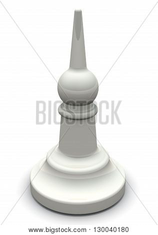 White bishop. Chessman. White bishop on a white surface. Isolated. 3D Illustration