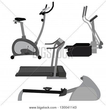 Set of flat illustration sports simulators. Vector elements for infographics. Sport training apparatus