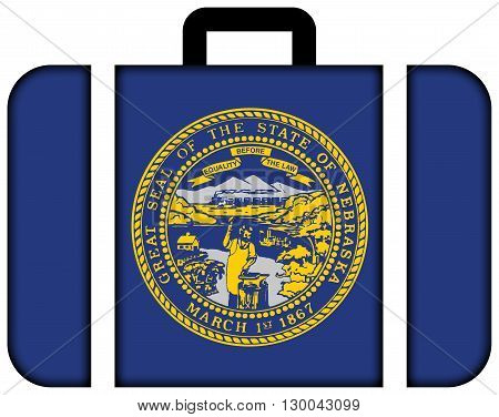 Flag Of Nebraska State. Suitcase Icon, Travel And Transportation Concept