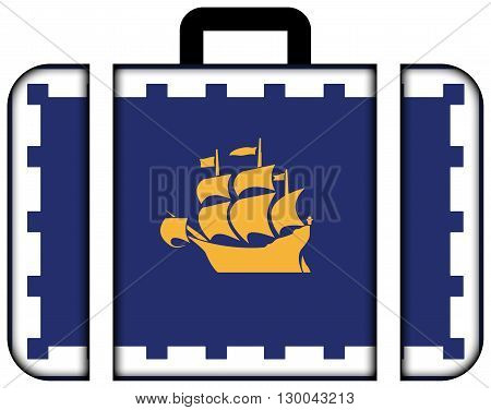 Flag Of Quebec City. Suitcase Icon, Travel And Transportation Concept