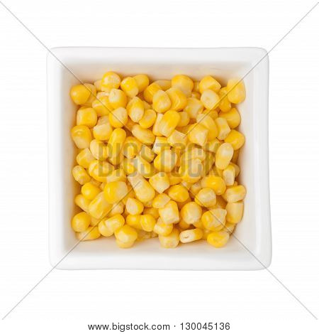 Corn kernels in a square bowl isolated on white background