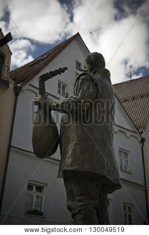 view of a musician monument in fussen in germany